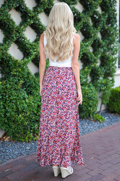 Isn't She Lovely Maxi Skirt - Pink floral print high low skirt, back, Closet Candy Boutique