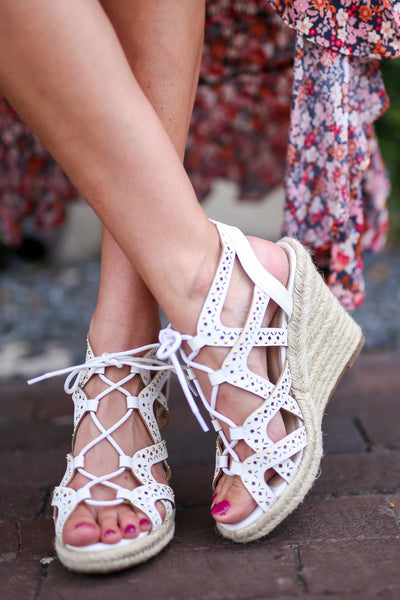 Takes Me Back Wedges - White strappy wedges, front, Closet Candy Boutique