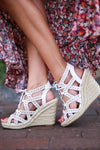 Takes Me Back Wedges - White strappy wedges, side, Closet Candy Boutique