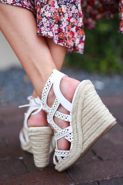 Takes Me Back Wedges - White strappy wedges, back, Closet Candy Boutique