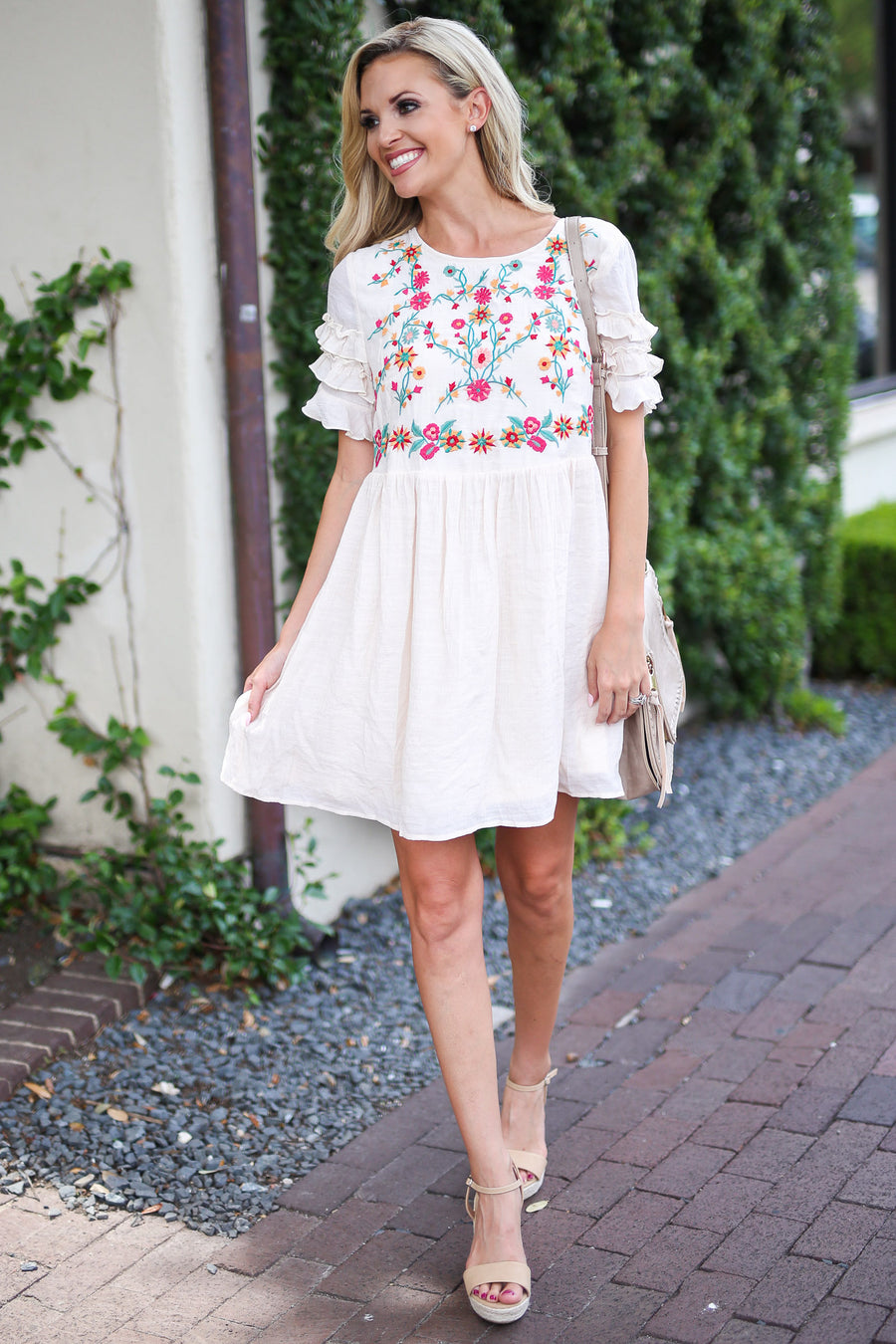 Live the Dream Dress - Cream embroidered babydoll dress, front, Closet Candy Boutique