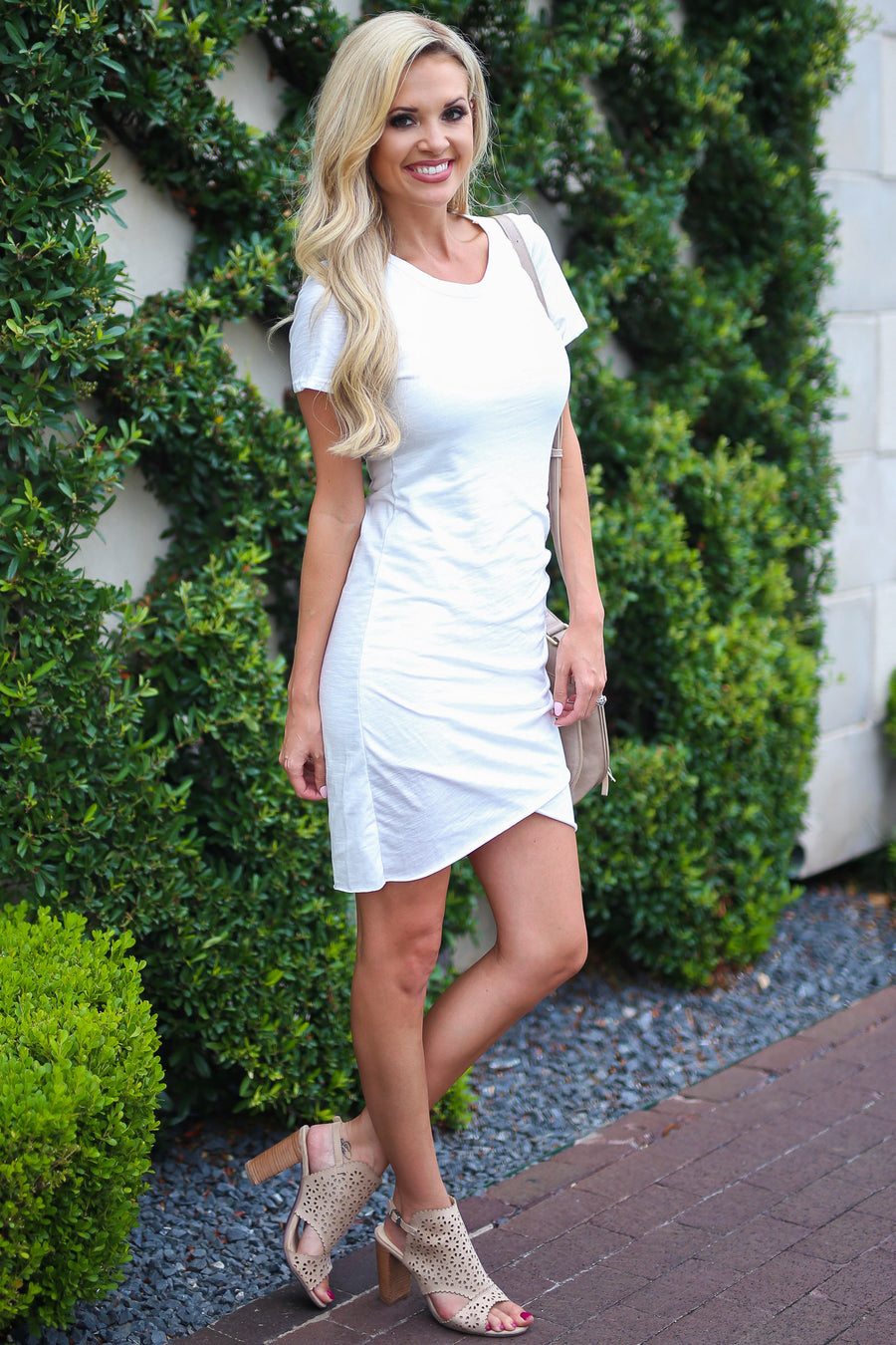 Nothing Better T-Shirt Dress - Ivory flirty women's dress closet candy boutique 1