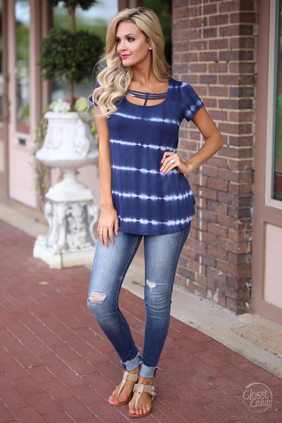 Closet Candy Boutique - cute short sleeve tie dye top with strappy detail, strappy shirt