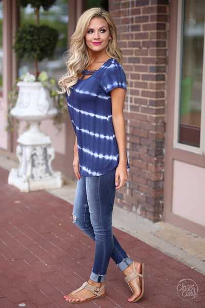 Closet Candy Boutique - cute short sleeve tie dye top with strappy detail, strappy shirt, side