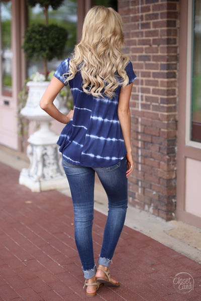 Closet Candy Boutique - cute short sleeve tie dye top with strappy detail, strappy shirt, back