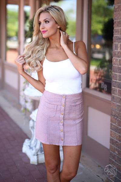 Loving Feeling Mini Skirt - blush button front mini skirt, spring and summer skirt, Closet Candy Boutique