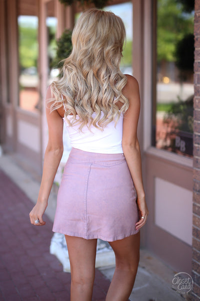 Loving Feeling Mini Skirt - blush button front mini skirt, spring and summer skirt, back, Closet Candy Boutique