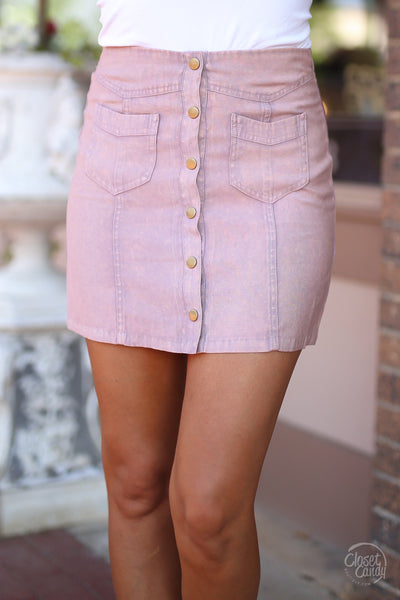 Loving Feeling Mini Skirt - blush button front mini skirt, spring and summer skirt, front, Closet Candy Boutique
