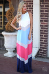 All Glammed Up Maxi Dress womens long chevron color block dress trendy closet candy boutique