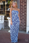 Closet Candy Boutique - damask print strapless maxi dress for spring and summer