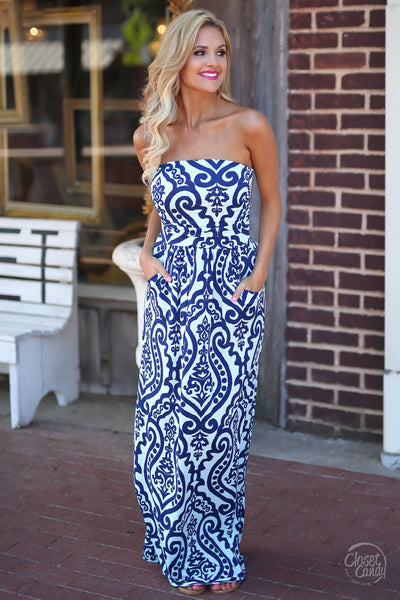 Closet Candy Boutique - damask print strapless maxi dress for spring and summer, front view
