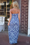 Closet Candy Boutique - damask print strapless maxi dress for spring and summer, back