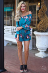 Closet Candy Boutique, off the shoulder floral romper with ruffle sleeves, spring and summer outfit, front