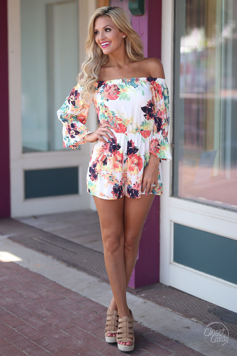 Sunrise & Shine Romper - Ivory colorful off shoulder womens romper summer style closet candy boutique