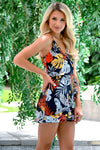Under The Sun Romper - Navy womens trendy tropical print wrap romper closet candy side