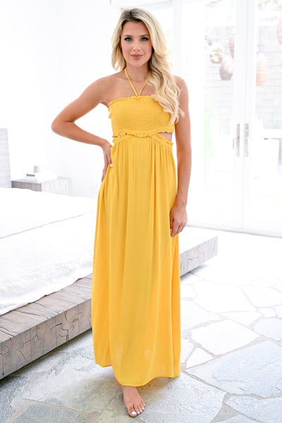 Find Happiness Maxi Dress - Sunshine womens trendy halter neck cut out back long dress closet candy front 2