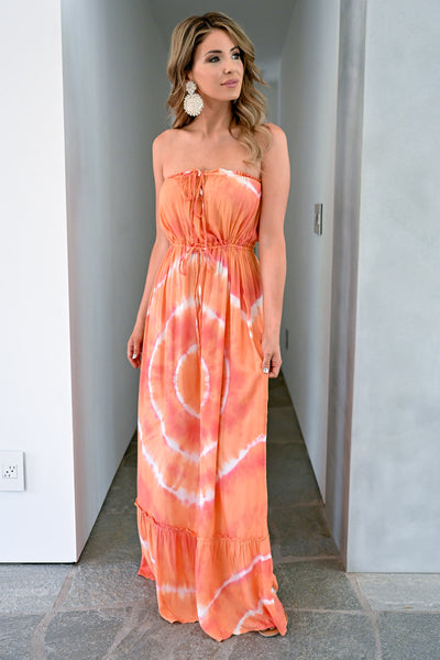 Sunset Views Tie Dye Maxi Dress - Creamsicle womens trendy strapless long dress closet candy front