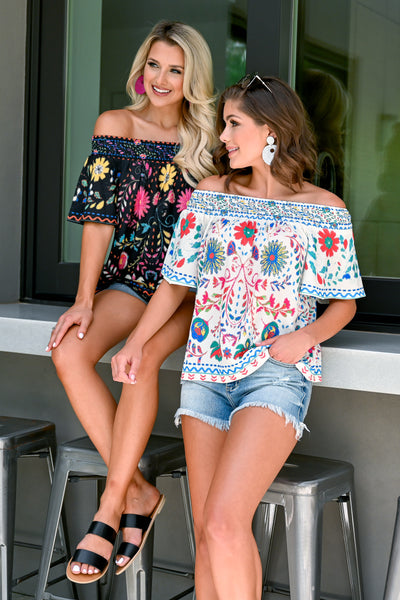 Fiesta Nights Top - Ivory womens trendy off the shoulder floral print top closet candy both