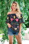 Fiesta Nights Top - Black womens trendy off the shoulder floral top closet candy front