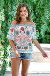 Fiesta Nights Top - Ivory womens trendy off the shoulder floral print top closet candy front