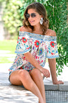 Fiesta Nights Top - Ivory womens trendy off the shoulder floral print top closet candy sitting
