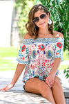 Fiesta Nights Top - Ivory womens trendy off the shoulder floral print top closet candy front sitting
