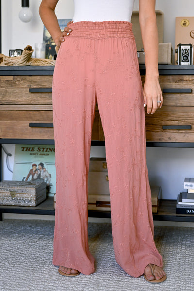 Dreamer Embroidered Wide Leg Palazzo Pants - Salmon womens trendy wide leg elastic waist pant closet candy front