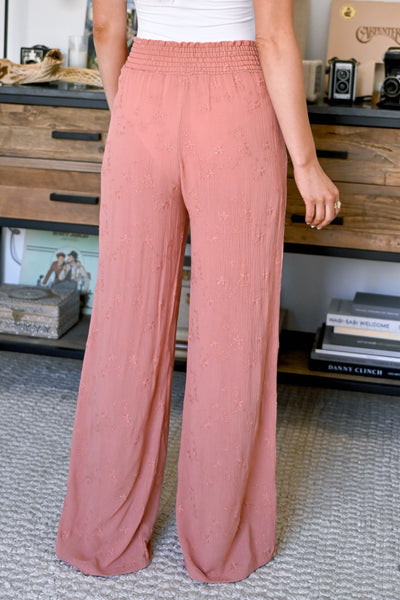 Dreamer Embroidered Wide Leg Palazzo Pants - Salmon womens trendy wide leg elastic waist pant closet candy back