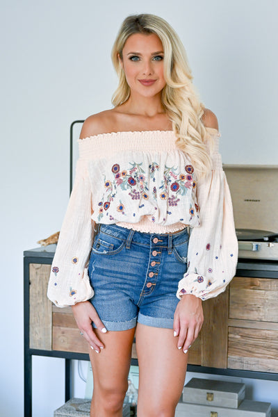 Peace Out Embroidered Top - Peach womens trendy off the shoulder floral embroidered lantern sleeve top closet candy front 3