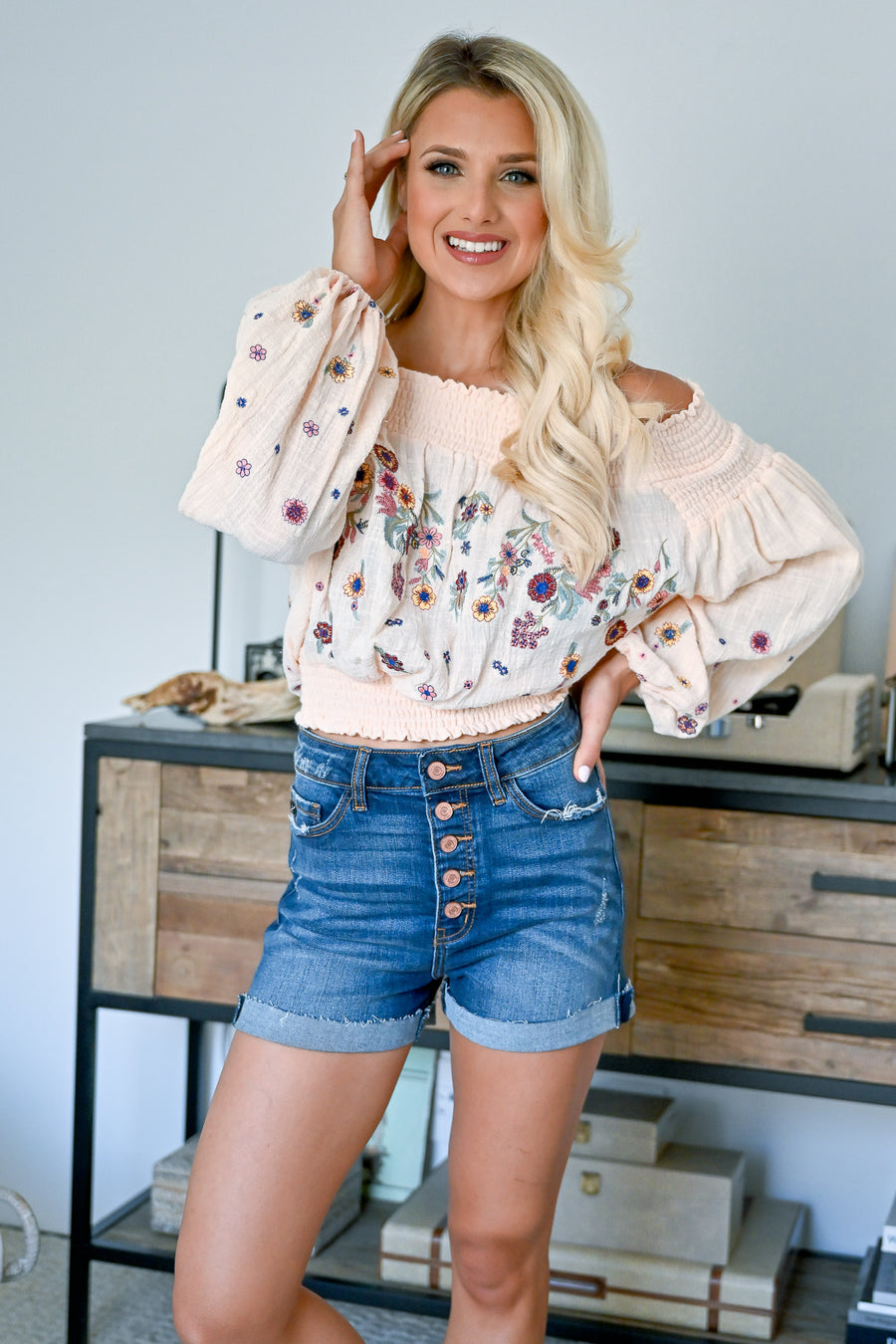 Peace Out Embroidered Top - Peach womens trendy off the shoulder floral embroidered lantern sleeve top closet candy front
