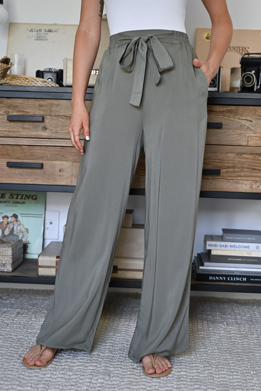 Next Flight Out Palazzo Pants - Olive womens trendy tie waist wide leg pants closet candy front