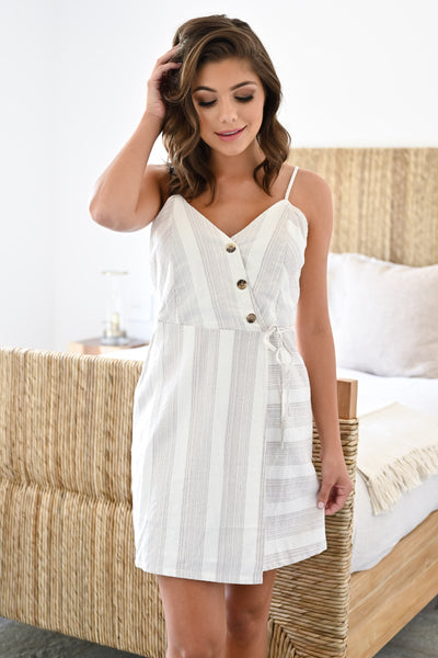 See You On The Flip Side Dress - Ivory womens trendy striped wrap dress with buttons closet candy front; Model: Hannah Sluss