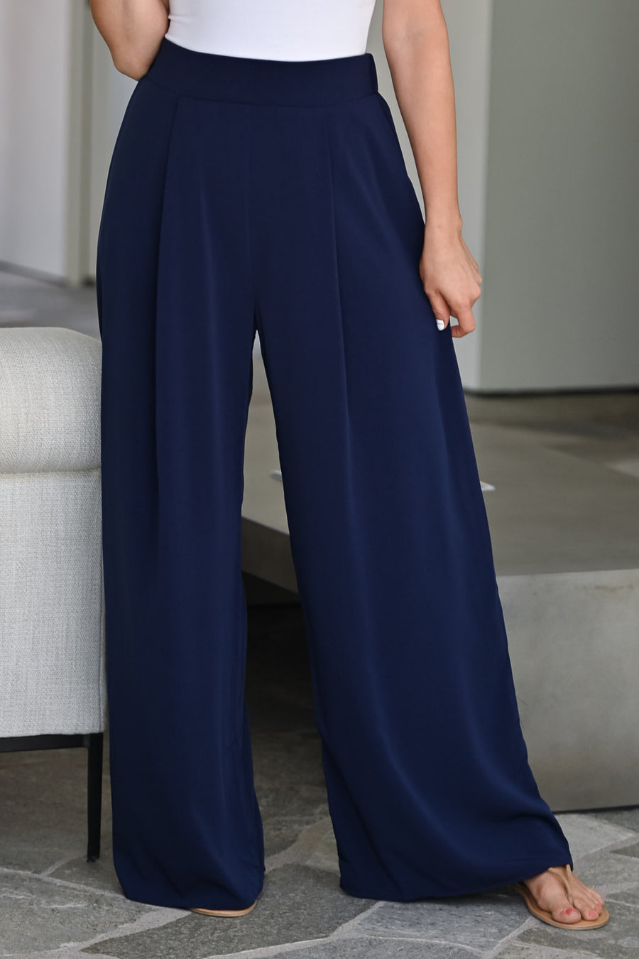Get It Done Palazzo Pants -  Navy womens trendy wide leg pant closet candy front