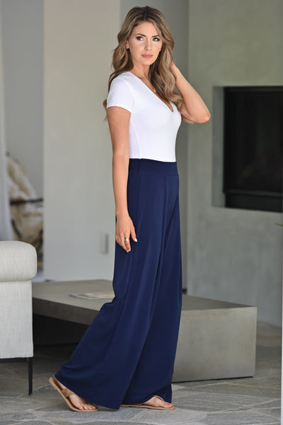 Get It Done Palazzo Pants -  Navy womens trendy wide leg pant closet candy side