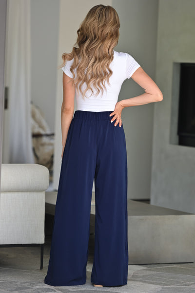 Get It Done Palazzo Pants -  Navy womens trendy wide leg pant closet candy back