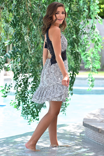 Pool Party Dress - Navy womens trendy crochet open back geometric print dress closet candy side