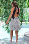 Pool Party Dress - Navy womens trendy crochet open back geometric print dress closet candy back; Model: Hannah Sluss