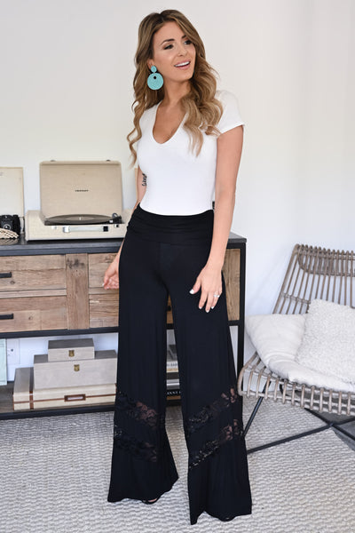 Let's Go Somewhere Palazzo Pants - Black womens trendy lace detail wide leg pants closet candy front