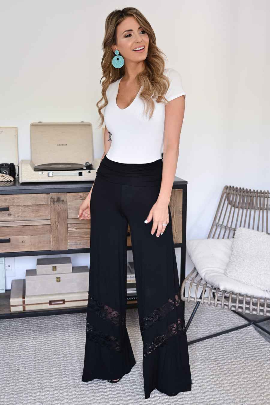 Let's Go Somewhere Palazzo Pants - Black womens trendy lace detail wide leg pants closet candy close