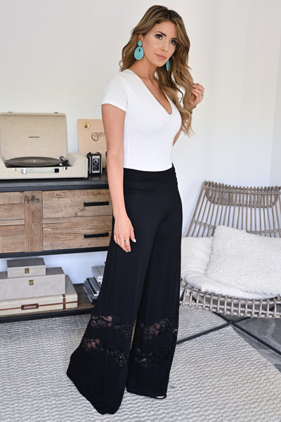 Let's Go Somewhere Palazzo Pants - Black womens trendy lace detail wide leg pants closet candy side