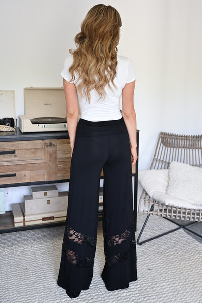 Let's Go Somewhere Palazzo Pants - Black womens trendy lace detail wide leg pants closet candy back
