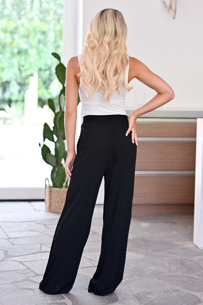 Next Flight Out Palazzo Pants - Black womens trendy tie waist wide leg pants closet candy back