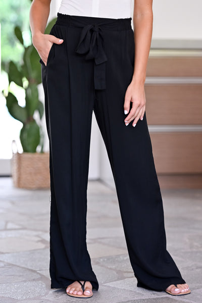 Next Flight Out Palazzo Pants - Black womens trendy tie waist wide leg pants closet candy front 2