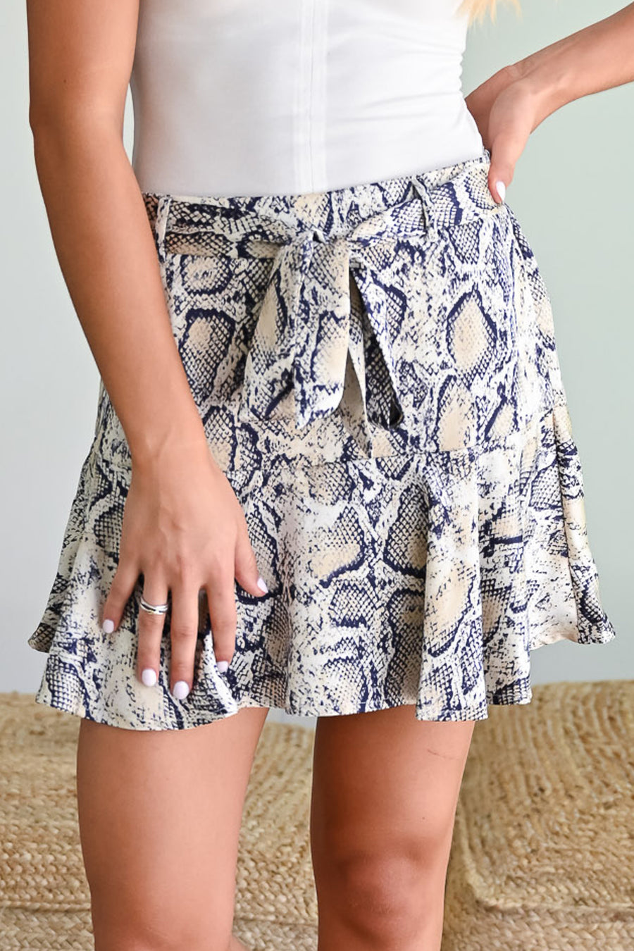 Good Night Skirt - Snake Print womens trendy tie waist mini skirt closet candy side