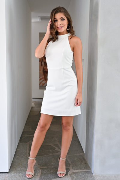 Sorry I've Got Plans Dress - Ivory womens trendy halter neck bodycon short dress closet candy front; Model: Hannah Sluss