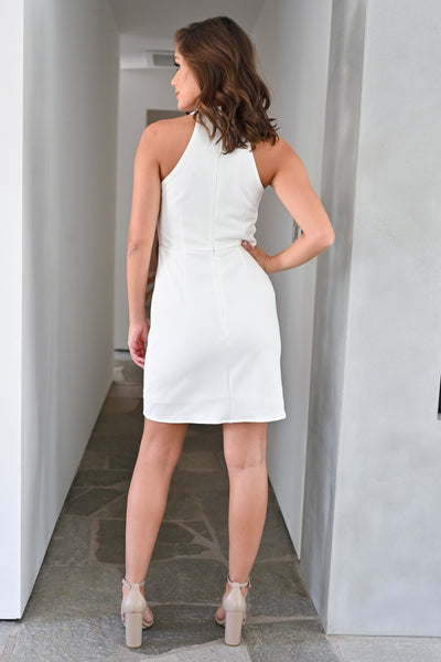 Sorry I've Got Plans Dress - Ivory womens trendy halter neck bodycon short dress closet candy back; Model: Hannah Sluss