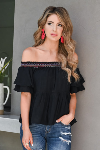 I Like It Like That Top - Black womens trendy off the shoulder ruffle top closet candy close