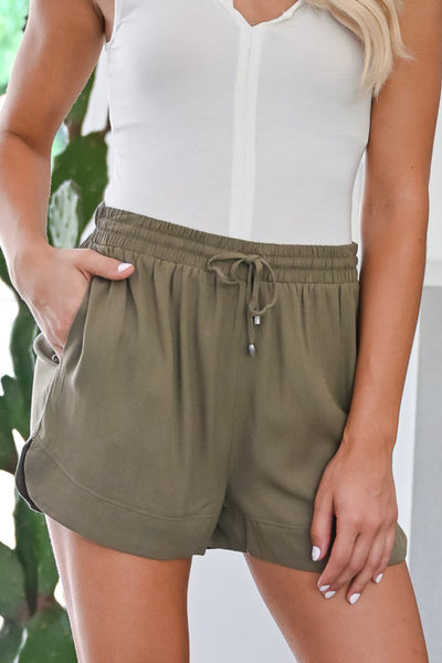 River Cruise Shorts - Olive womens casual drawstring lightweight shorts closet candy close