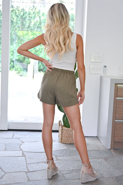 River Cruise Shorts - Olive womens casual drawstring lightweight shorts closet candy back