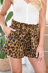 On The Prowl Paper Bag Shorts - Leopard womens trendy tie waist leopard print shorts closet candy close